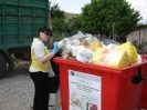 Empty plastic pesticide packaging is disposed of in designated dumpsters